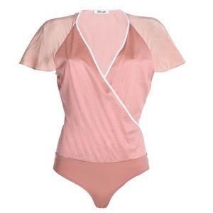 Diane Von Furstenberg Pink Ruffle Bodysuit